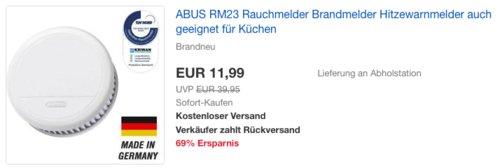 ABUS RM23 Rauchmelder, Brandmelder mit Hitzewarnfunktion - jetzt 33% billiger