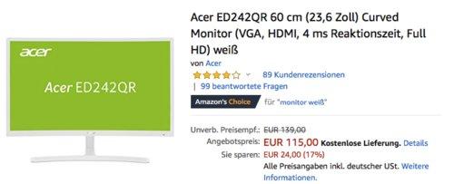 Acer ED242QR 60 cm (23,6 Zoll) Curved Monitor, weiß - jetzt 12% billiger
