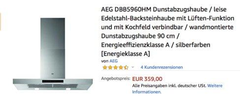 AEG DBB5960HM Dunstabzugshaube 90 cm mit Hob2Hood-Funktion - jetzt 4% billiger