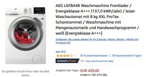 AEG L6FBA48 Waschmaschine mit 8 kg XXL ProTex Schontrommel - jetzt 17% billiger