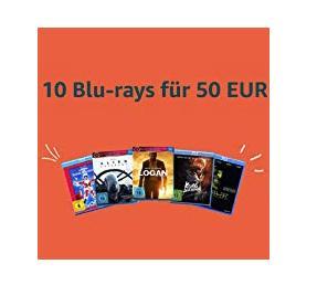 Amazon Aktion: 10 Blu-rays  für 50 EUR - jetzt 48% billiger