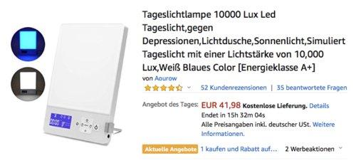 Aourow Tageslichtlampe 10000 Lux - jetzt 24% billiger