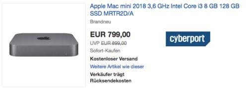 Apple Mac mini 2018 MRTR2D/A (3,6 GHz Intel Core i3, 8 GB RAM, 128 GB SSD) - jetzt 3% billiger