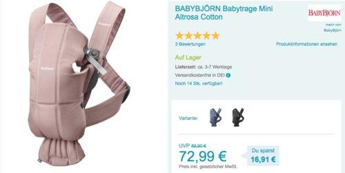 BABYBJÖRN Babytrage Mini in verschiedenen Farben - jetzt 18% billiger