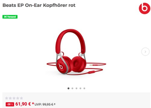 Beats EP On-Ear Kopfhörer in Rot - jetzt 12% billiger