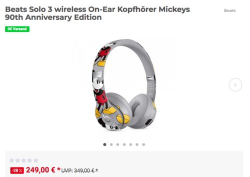 Beats Solo 3 wireless On-Ear Kopfhörer Mickeys 90th Anniversary Edition - jetzt 14% billiger