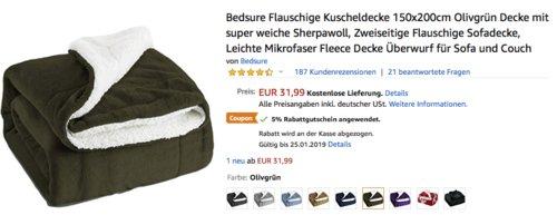 Bedsure Flauschige Kuscheldecke 150x200cm mit Lammfell und Flanell Fleece - jetzt 5% billiger
