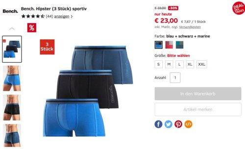 Bench. 3er Pack Herren Basic Hipster Boxershorts - jetzt 14% billiger