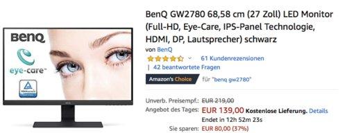 BenQ GW2780 68,58 cm (27 Zoll) LED Monitor (Full-HD, Eye-Care, IPS-Panel Technologie, HDMI, DP, Lautsprecher) - jetzt 18% billiger