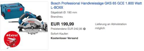 Bosch Professional Handkreisäge GKS 65 GCE im L-BOXX inkl. Premium-Taschenmesser Victorinox Outrider - jetzt 19% billiger