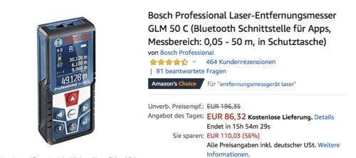 Bosch Professional Laser-Entfernungsmesser GLM 50 C (Bluetooth, Messbereich: 0,05 - 50 m) - jetzt 28% billiger