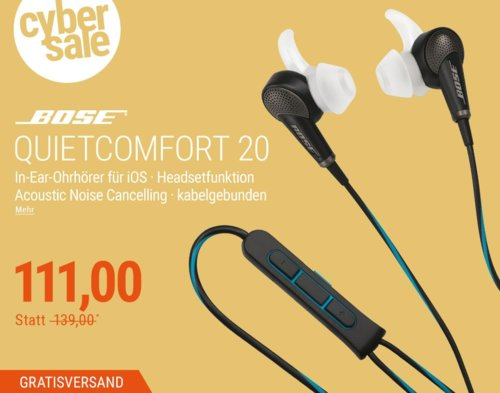 BOSE Quietcomfort 20 ANC In-Ear-Kopfhörer für iOS - jetzt 14% billiger