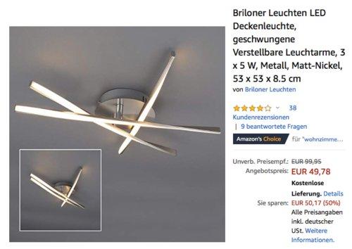 Briloner Leuchten LED Deckenleuchte mit geschwungenen und verstellbaren Leuchtarmen, 3 x 5 W - jetzt 30% billiger