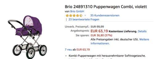 Brio 24891310 Puppenwagen Combi in Violett - jetzt 10% billiger