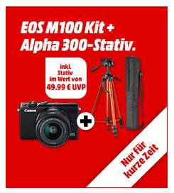 CANON EOS M100 Systemkamera Kit inkl. CULLMANN ALPHA 3500 Dreibein Stativ - jetzt 10% billiger