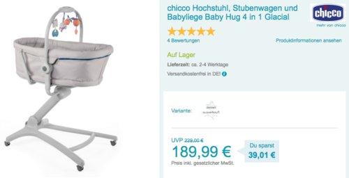 chicco Hochstuhl, Stubenwagen und Babyliege Baby Hug 4 in 1 in Glacial - jetzt 18% billiger
