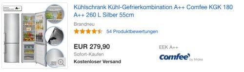 ComfeeKühl-GefrierkombinationKGK 180A++ - jetzt 20% billiger