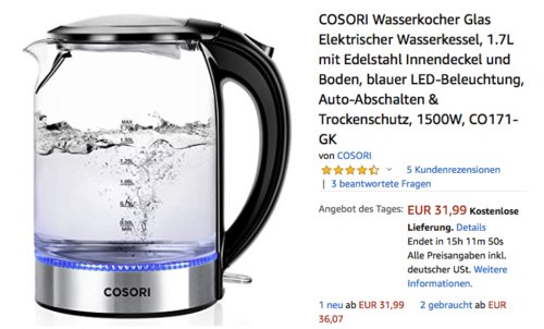 COSORI Wasserkocher Glas, 1.7L, 1500W - jetzt 25% billiger