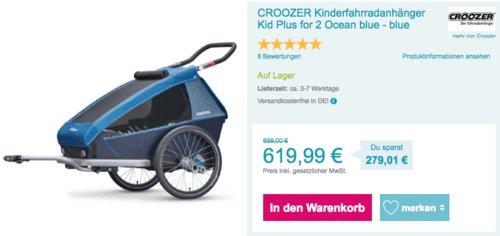 CROOZER Kinderfahrradanhänger Kid Plus for 2 - jetzt 11% billiger