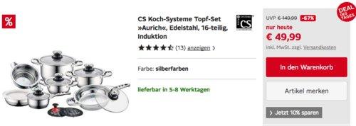 "CS Koch-Systeme Topf-Set ""AURICH"", 16-teilig, Edelstahl, - jetzt 30% billiger"