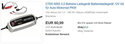 CTEK MXS 5.0 Vollautomatisches Batterieladegerät für Auto- und Motorradbatterien - jetzt 13% billiger