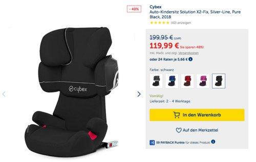 Cybex Silver Solution X2-fix Auto-Kindersitz, Kategorie II-III (15-36 kg) - jetzt 9% billiger