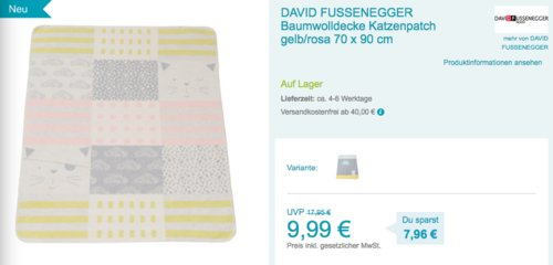 "DAVID FUSSENEGGER Baumwolldecke ""Katzenpatch"" gelb/rosa 70 x 90 cm - jetzt 14% billiger"