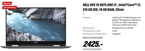 DELL XPS 15 9575 2in1 Notebook (15.6  Zoll, Intel®Core™ i7, 512 GB SSD, 16 GB RAM) - jetzt 4% billiger