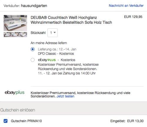 Deuba® Couchtisch Hochglanz weiß, 360° drehbar, 80 x 80 cm - jetzt 10% billiger