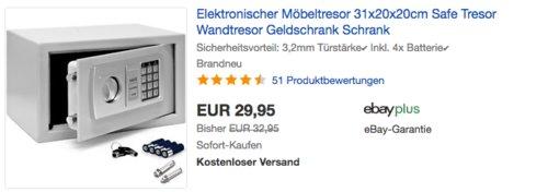 Deuba Elektronischer Möbeltresor 31x20x20cm - jetzt 9% billiger