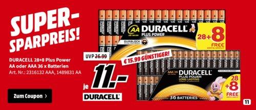 DURACELL Plus Power AAA (Micro) Batterien Alkaline 36 Stück - jetzt 45% billiger