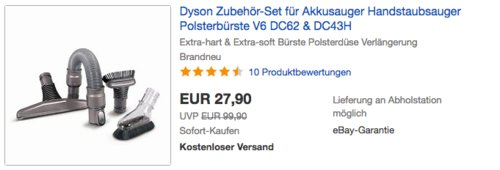 Dyson Zubehör-Set für Akkusauger (V6, DC62 & DC43H) - jetzt 13% billiger