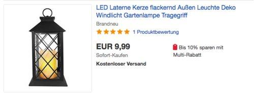 Eaxus Laterne mit LED-Kerze - jetzt 26% billiger