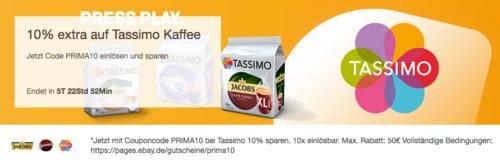 Ebay - 10% Rabatt auf TASSIMO Kaffee Kapseln: z.B. TASSIMO Kaffee Kapseln Vielfaltspaket - jetzt 10% billiger