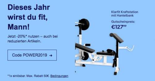 eBay 20% Gutschein auf Fitness & Ernährung: z.B. Klarfit KS02 Kraftstation - jetzt 20% billiger