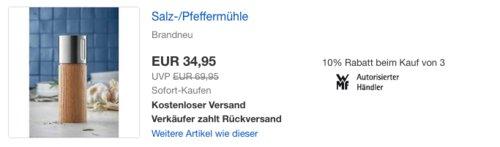 eBay WMF - Aktion: z.B. WMF Nature Salz und Pfeffermühle aus Eichenholz - jetzt 40% billiger