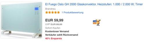 """El Fuego GH 2000 Glaskonvektor """"Oslo"""", 1.000 / 2.000 W - jetzt 21% billiger"""