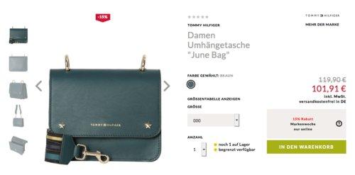 """Engelhorn - 15% Extra-Rabatt auf Businessmode: z.B.  Tommy Hilfiger Damen Umhängetasche """"June Bag"""", braun - jetzt 15% billiger"""
