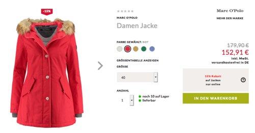 Engelhorn - 15% Extra-Rabatt auf Jacken: z.B.Marc O'Polo Damen Jacke mit abknöpfbarer Webpelz-Kapuze - jetzt 15% billiger
