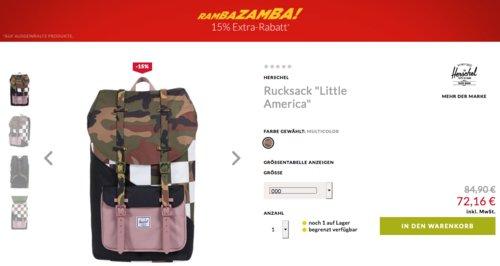 """Engelhorn - 15% Extra-Rabatt auf Sale Artikel: z.B. Herschel Rucksack """"Little America"""" Multicolor - jetzt 15% billiger"""