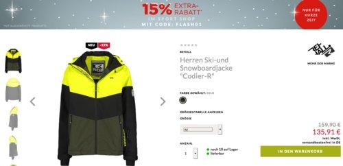"""Engelhorn - 15% Extra-Rabatt aus Sale: z.B.  Rehall Herren Ski-und Snowboardjacke """"Codier-R"""" - jetzt 15% billiger"""