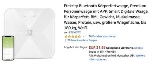 Etekcity ESF17 Bluetooth Körperfettwaage mit App - jetzt 11% billiger