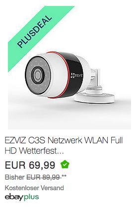 EZVIZ C3S 1080P WLAN-Überwachungskamera - jetzt 10% billiger