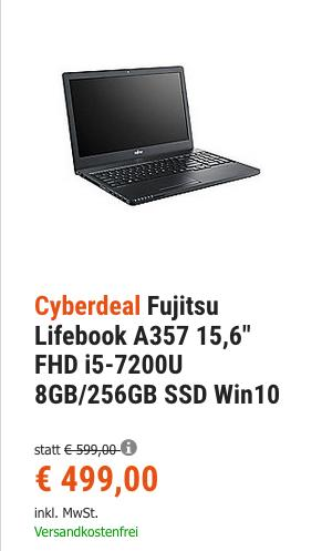 """Fujitsu Lifebook A357 15,6"""" Notebook (i5-7200U, 8GB RAM, 256GB SSD, Win10) - jetzt 16% billiger"""