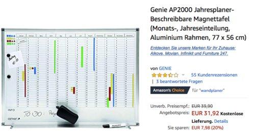 Genie AP2000 Jahresplaner 77 x 56 cm, beschreibbare Magnettafel - jetzt 20% billiger