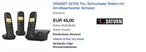 GIGASET A270A Trio schnurloses Telefon mit Anrufbeantworter - jetzt 29% billiger