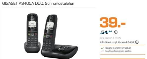 GIGASET AS405A DUO Schnurlostelefon (2 Mobilteile, Anrufbeantworter) - jetzt 29% billiger