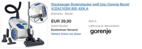 Gorenje Beutel-Staubsauger VCEA21ESW EVOSlide, 800W, EEK A - jetzt 20% billiger