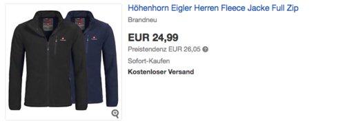 """Höhenhorn Herren Fleece Jacke """"Eigler"""", Schwarz oder Navy - jetzt 17% billiger"""