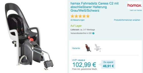 hamax Fahrradsitz Caress C2 mit abschließbarer Halterung,  Grau/Weiß/Schwarz - jetzt 13% billiger